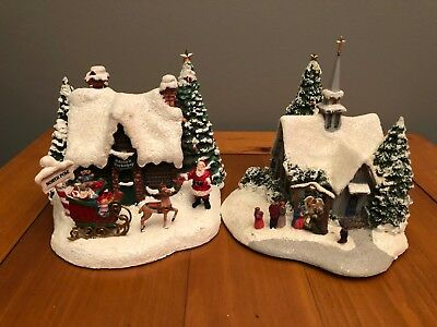 Thomas Kinkade 2010 Santa's Workshop teleflora lighted with 2007 Chapel/Church