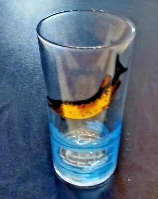 RARE Vintage FISH fishing drink glass tumbler Muskie Muskellunge Glass