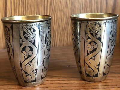 2 Vintage Russian Soviet Silver 875 Shot Glass Cup Vodka Miniature