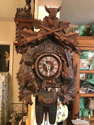 German 8 day Black Forest Hunters Cuckoo clock Large Hand Carved
