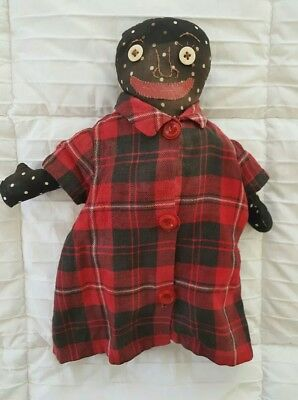 """Antique 19th Century FOLK ART BLACK DOLL Embroidered Face 15.5"""" TALL"""