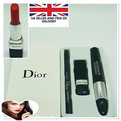 Christian Dior Makeup Must Have GiftSet Xmas Mascara Lipstick Rouge Eyeliner New
