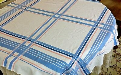 "Vintage Tablecloth Striped Blue & Pink Print 46"" x 50"" Baby Shower"
