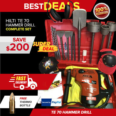 Hilti Te 70 Hammer Drill, Preowned, Free Core Bits Extras, Fast Shipping