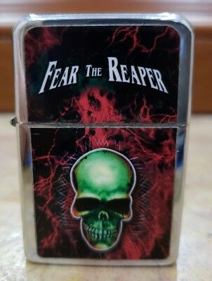 Skull Fear the Reaper- Metal Flip Top Refillable Victor Lighter / WORKS/ NEW
