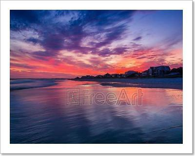 Waves In The Atlantic Ocean At Sunset, Art Print Home Decor Wall Art Poster - I