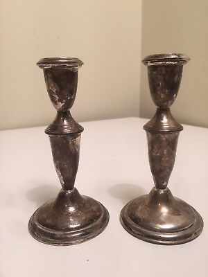 """Pair Antique 6 1/4"""" Empire Sterling Silver Weighted Candlesticks"""
