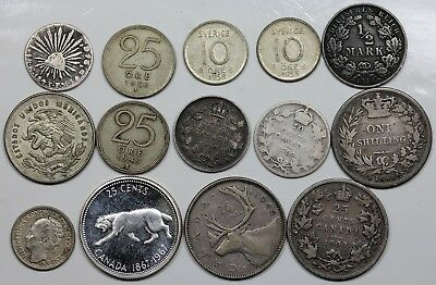 Lot of 14 misc. foreign silver coins, Canada, Great Britain, Mexico, etc.