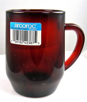 Vintage Ruby Red Glass Mug Cup Arcoroc France Christmas Holiday (C2)