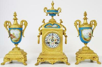 Antique French Gilt Metal & Blue Sevres Porcelain Mantle Clock Garniture Set
