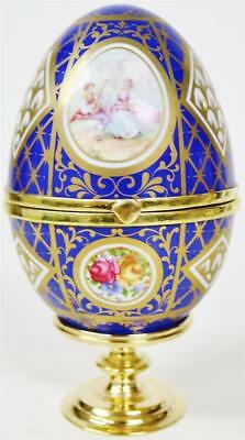 Rare Antique Fusee Verge Blue & Hand Painted Gilt Porcelain Egg Desk Watch Clock