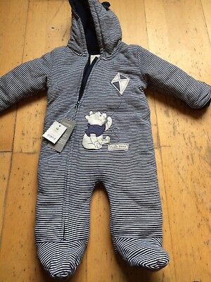 George Winnie The Pooh Stripe All In One Snowsuit 6-9 Months Bnwt