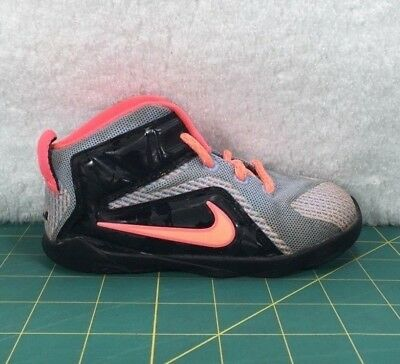 newest 561d9 f655b Nike Lebron 12 XII TD Gray And Pink Basketball Shoes Sneakers~Toddler Size  8C