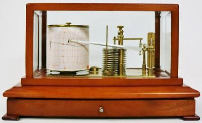Superb Vintage Negretti & Zambra English Mahogany & Glass 11 Chamber Barograph