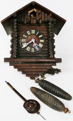 Antique Black Forest GHS 2 Weight Striking Swiss Chalet Carved Cuckoo Wall Clock