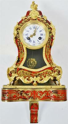 Amazing Antique French 8 Day Red Shell & Bronze Boulle Mantle Clock & Bracket