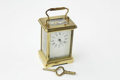 Vintage LONDON CLOCK CO. Brass CARRIAGE CLOCK Key-Wind WORKING (712g)