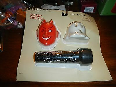 vintage old navy halloween flashlight w/ ghost & devil attatchments new rare