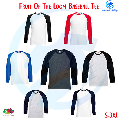 FRUIT OF THE LOOM Mens Long Sleeve Crew Neck BaseBall Tee Casual Sports Tee Top