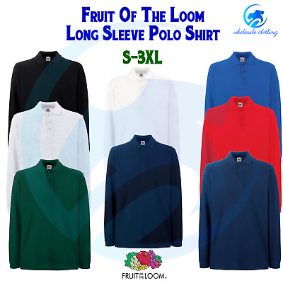 FRUIT OF THE LOOM Mens Premium Long Sleeve Poloshirt Workwear Cotton Leisure TOP