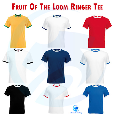 FRUIT OF THE LOOM New Mens Crew Ringer T-Shirt Sports Top Casual Contrast Tee