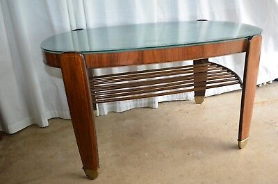 1930's Art Deco Burl Walnut Oval Coffee Table Beveled Etched Glass Top, France