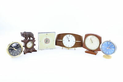 6 x Assorted Vintage CLOCKS Hand-Wind WORKING Inc. Mantel, Alarm, Decorative