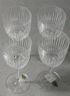 4 WATERFORD Crystal Lismore Diamond Water/Wine Goblets/Glasses/Stems EUC