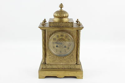 Antique Victorian MANTEL CLOCK Key-Wind Gilt Metal w/ French Movement