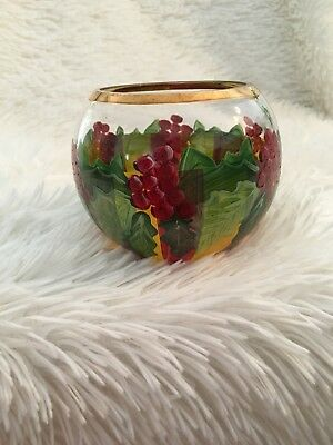 Mackenzie Childs Holly Berries Holly & Berry Glass Votive Candle Holder Vase