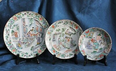 3 Antique CHINESE CANTONESE PORCELAIN FAMILLE ROSE Plates 19TH C