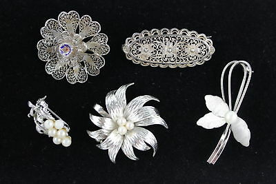 5 x Vintage .800 & .925 STERLING SILVER Floral Brooches Inc. Fine Peal 25g