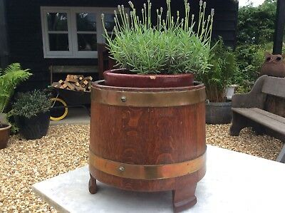 Lister Oak And Brass Bound Coopered Planter Bucket Stand Jardeniere