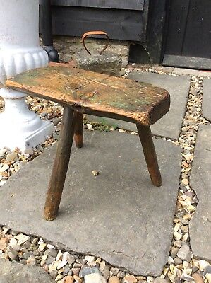 Super Little Primitive Welsh Cottage Stool Milking Stool Inglenook 3 Leg Stool