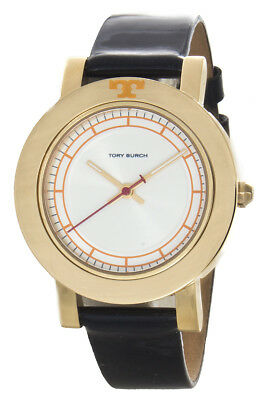 6d786f60a615 Tory Burch Women s White Dial Gold Bezel Black Leather Band Watch TBW6000