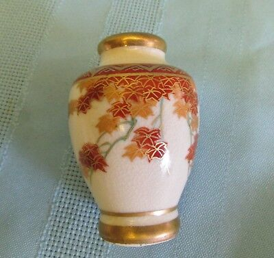 """Soko China Hand painted 2.5"""" High miniature Vase, Maple pattern. Japan. Stamped"""