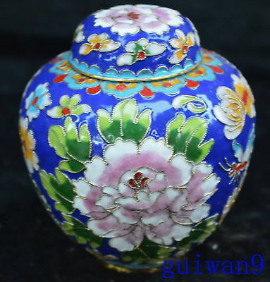 Collectable Chinese Cloisonne Carve Royal Tibet Flower Handwork Old Storage Pot