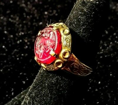 Byzantine or Visigothic Gold Ring, red stone or glass intaglio, Gnostic?