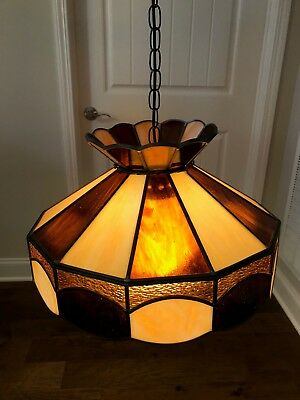 "Vintage Tiffany Style 20""leaded Stained Glass Hanging Light Lamp(See Note)Works!"