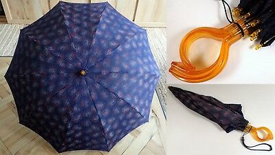 """Vtg 1940s Navy Paisley Abstract Amber LUCITE Handle 35"""" Umbrella Parasol WORKS!"""