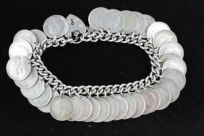 Vintage .925 Sterling Silver CHARM BRACELET 30 Coin Charms Padlock Clasp (71g)