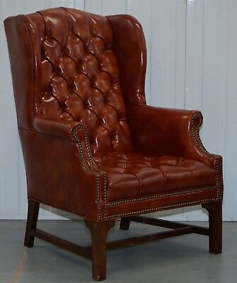 Lovely Vintage Fully Buttoned Chesterfield Wingback Armchair Nice Upholstery