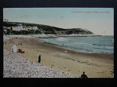 Wales Swansea Bay THE BEACH Langland Bay MUMBLES c1912 Postcard by Valentine