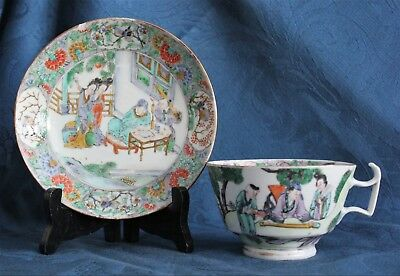 Antique CHINESE CANTONESE PORCELAIN FAMILLE ROSE Large Cup & Saucer 19TH C