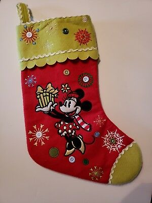 """Disney's Minnie Mouse """"Merry Christmas"""" Christmas Stocking Great Condition!"""