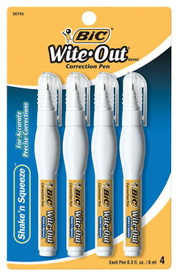 BIC Wite-Out Shake 'n Squeeze Correction Pen, 8 ml, Pack of 4