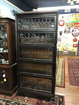Macey Barrister Bookcase 5 Stack With Leaded Glass Doors In All 5 Stacks