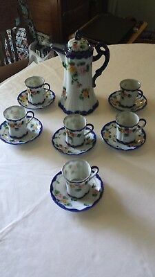 Vintage Hand Painted Nippon Chocolate Set   Used Good Condition