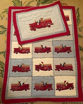 Pottery Barn Kids Baby Fire Truck Patchwork Quilt & Pillow Sham Crib Toddler Bed