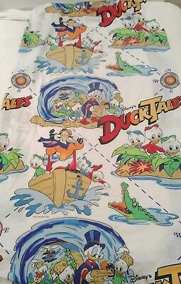 Vintage 1986 Duck Tales Twin Size Fitted Sheet Craft Fabric Cutter Disney